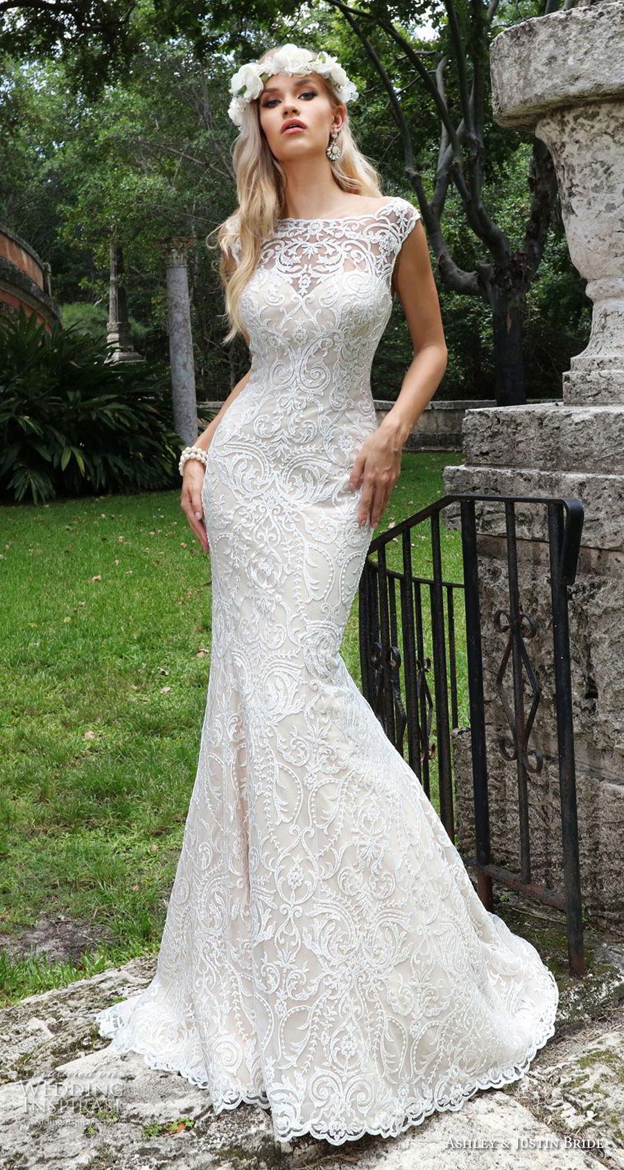 ashley justin spring 2018 bridal cap sleeves bateau neckline full embellishment elegant fit and flare wedding dress sheer button back chapel train (9) mv