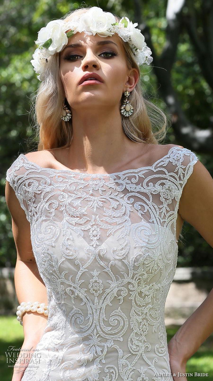 ashley justin spring 2018 bridal cap sleeves bateau neckline full embellishment elegant fit and flare wedding dress sheer button back chapel train (9) zv