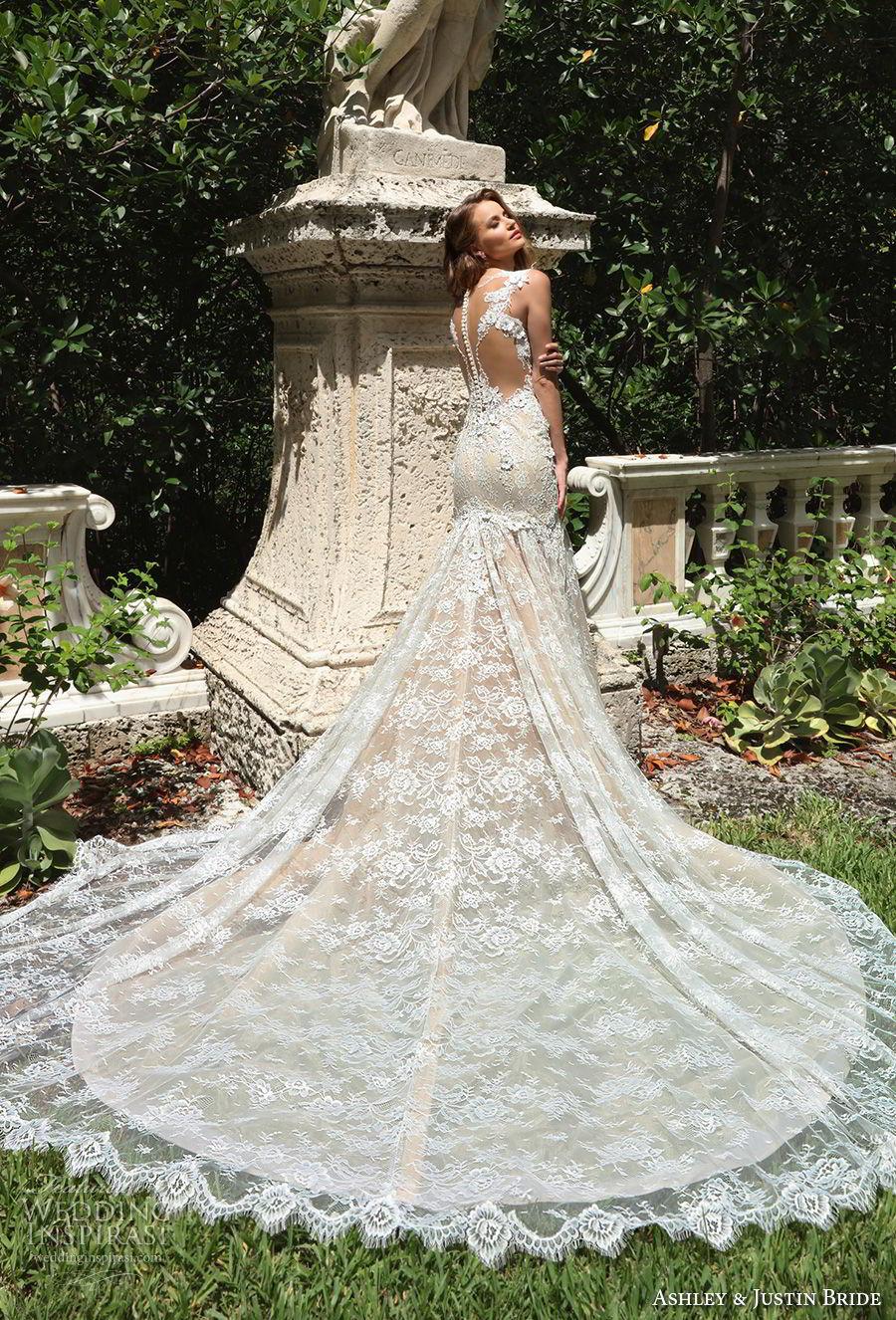 ashley justin spring 2018 bridal cap sleeves sweetheart neckline full embellishment elegant mermaid wedding dress sheer button back royal train (6) bv