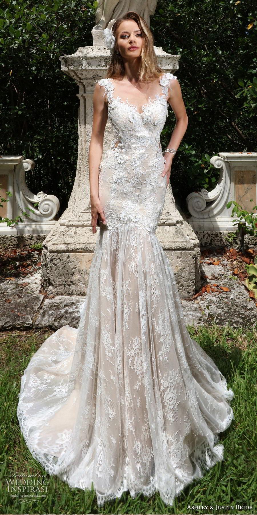 ashley justin spring 2018 bridal cap sleeves sweetheart neckline full embellishment elegant mermaid wedding dress sheer button back royal train (6) mv