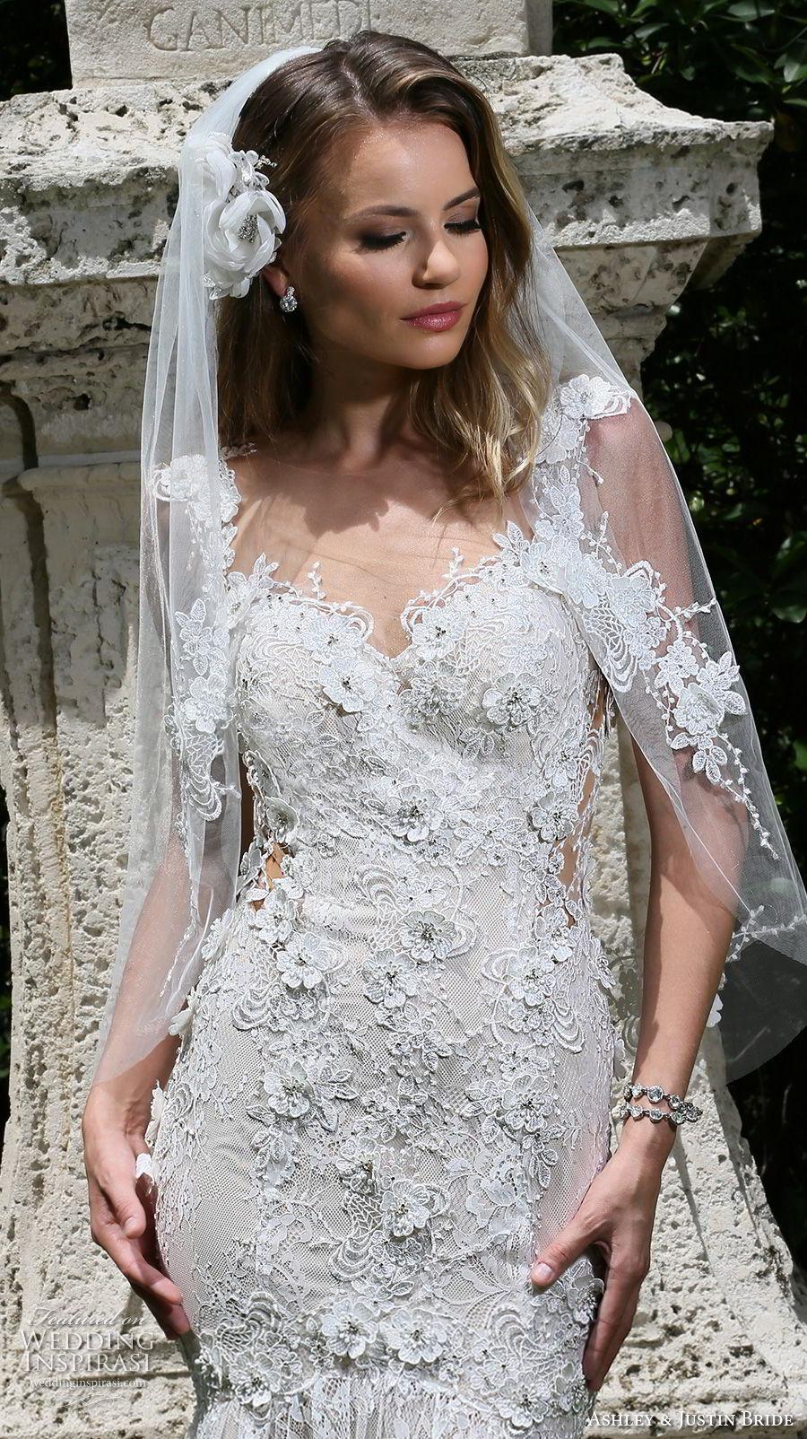 ashley justin spring 2018 bridal cap sleeves sweetheart neckline full embellishment elegant mermaid wedding dress sheer button back royal train (6) zv