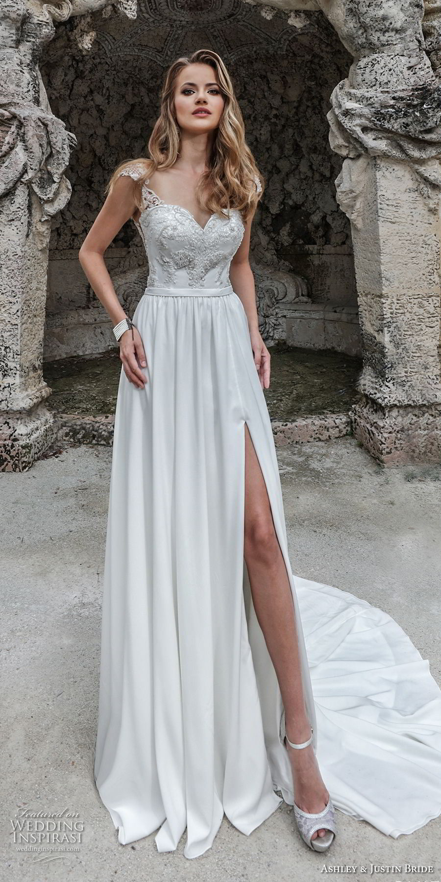 ashley justin spring 2018 bridal cap sleeves sweetheart neckline heavily embellished bodice high slit skirt romantic soft a  line wedding dress keyhole back chapel train (20) mv
