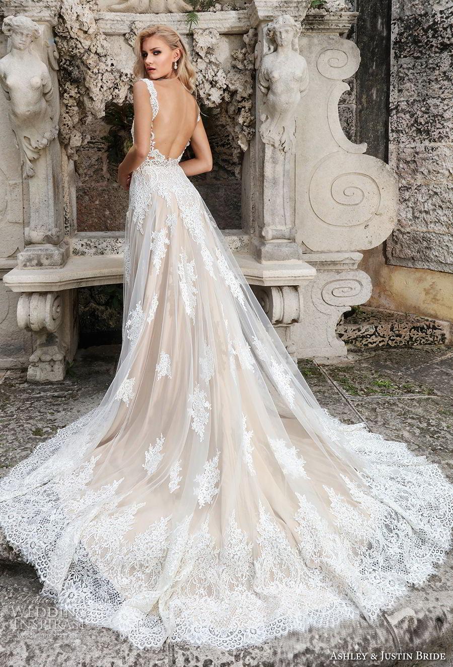 ashley justin spring 2018 bridal sleeveless thick strap full embellishment elegant nude color a  line wedding dress open scoop back chapel train (4) bv