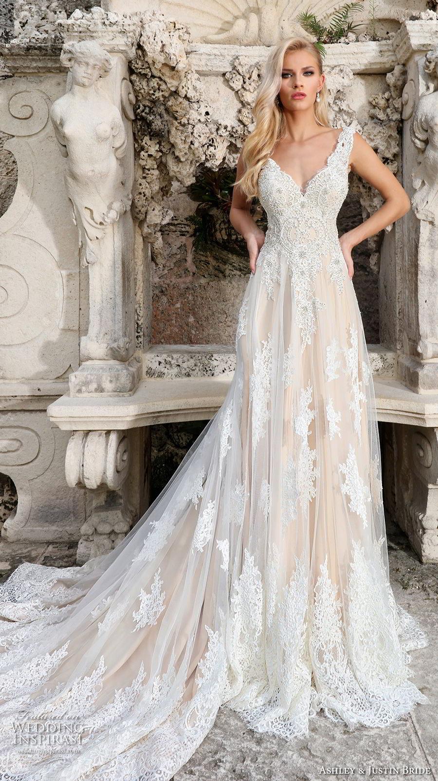 ashley justin spring 2018 bridal sleeveless thick strap full embellishment elegant nude color a  line wedding dress open scoop back chapel train (4) mv