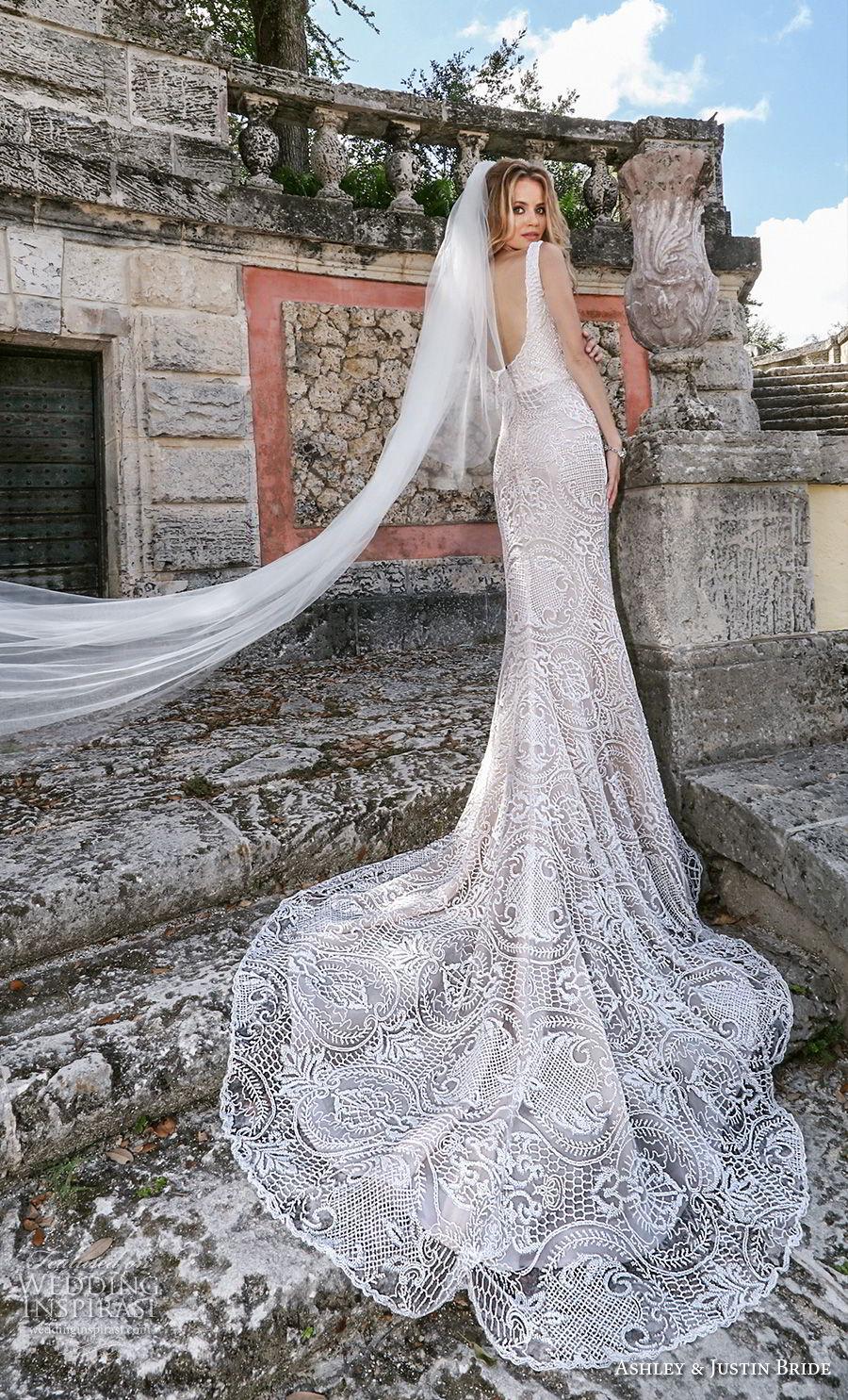 ashley justin spring 2018 bridal sleeveless thick strap sweetheart neckline full embellishment elegant fit and flare wedding dress scoop back chapel train (14) bv