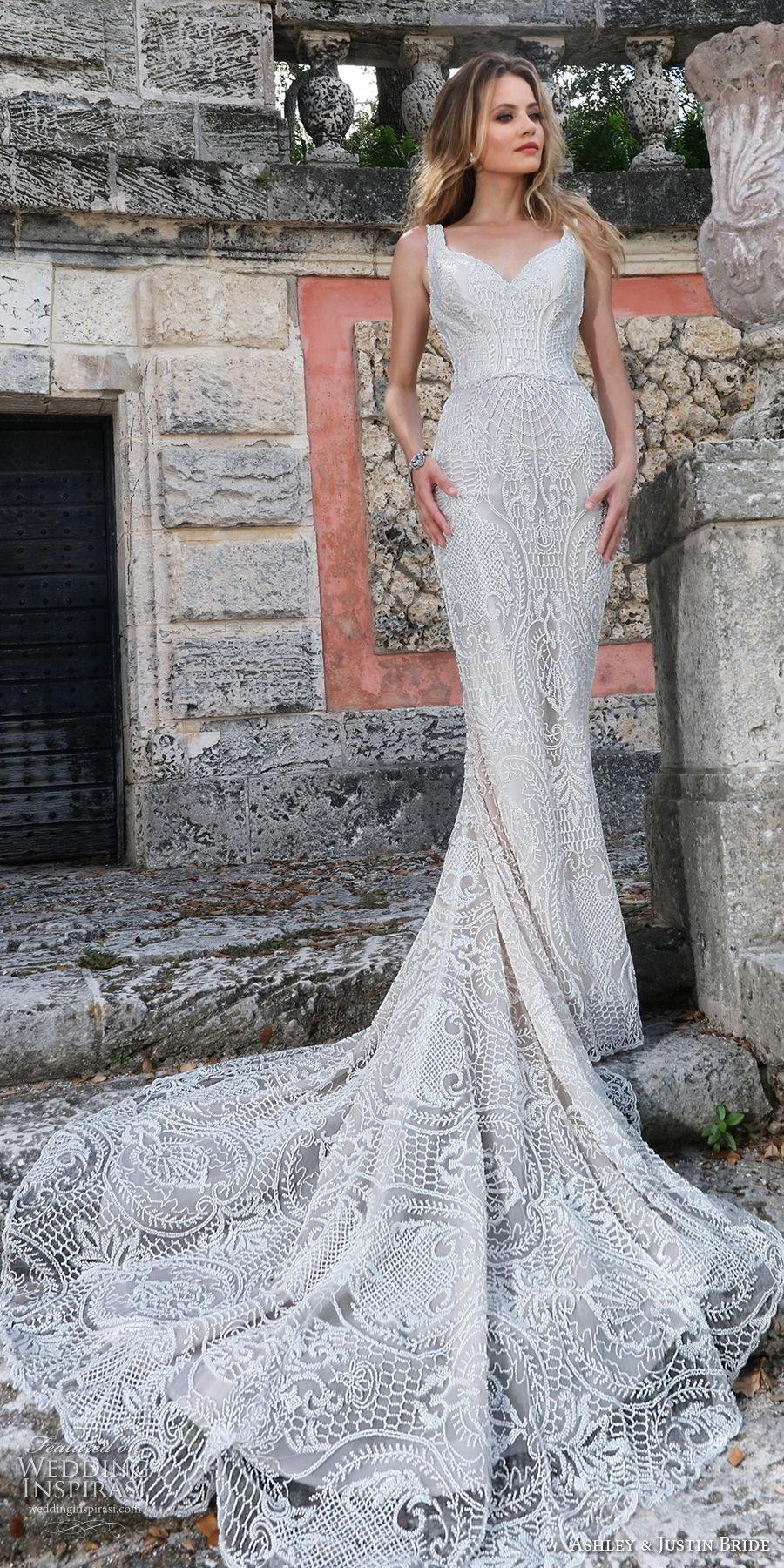 ashley justin spring 2018 bridal sleeveless thick strap sweetheart neckline full embellishment elegant fit and flare wedding dress scoop back chapel train (14) mv