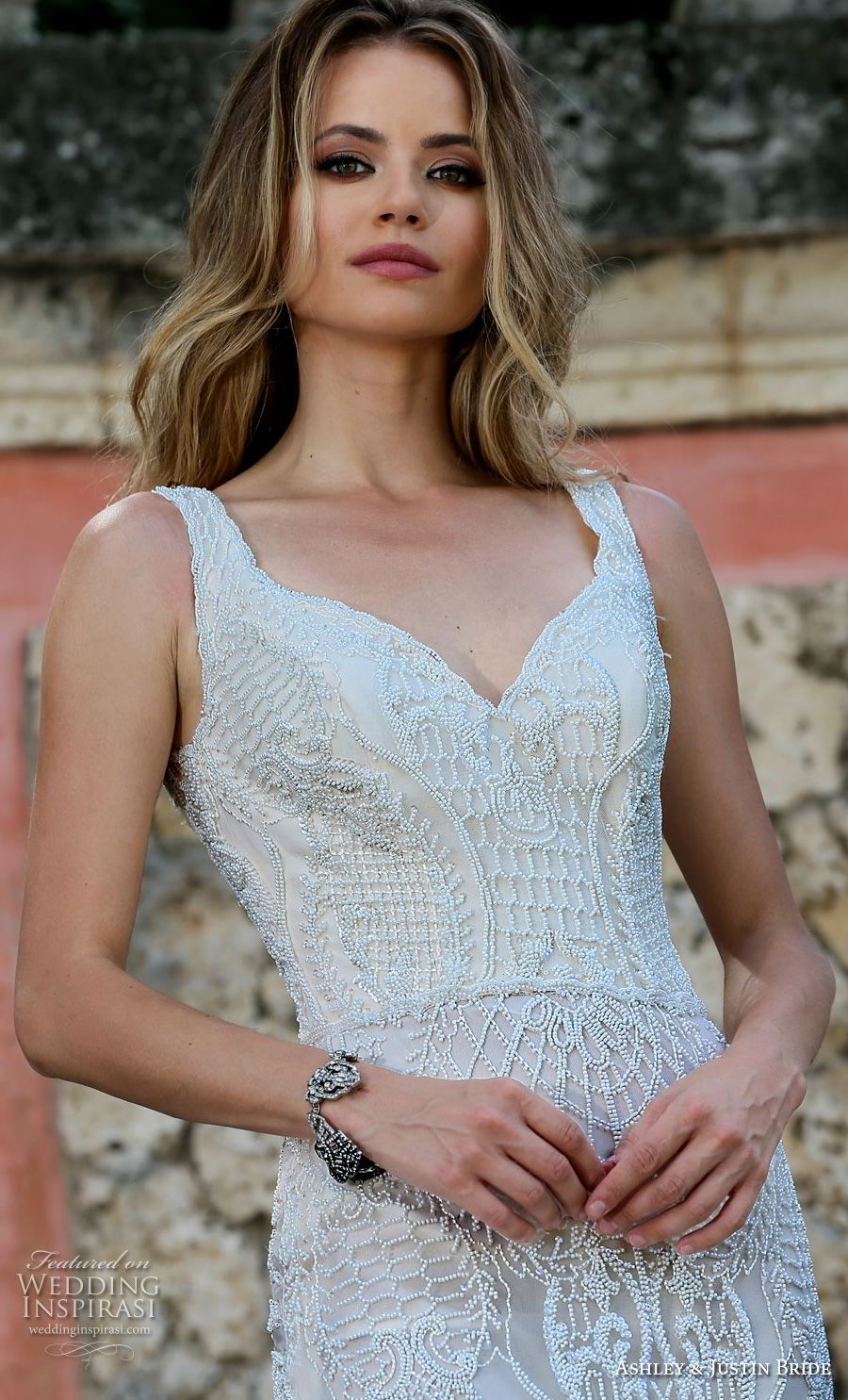 ashley justin spring 2018 bridal sleeveless thick strap sweetheart neckline full embellishment elegant fit and flare wedding dress scoop back chapel train (14) zv