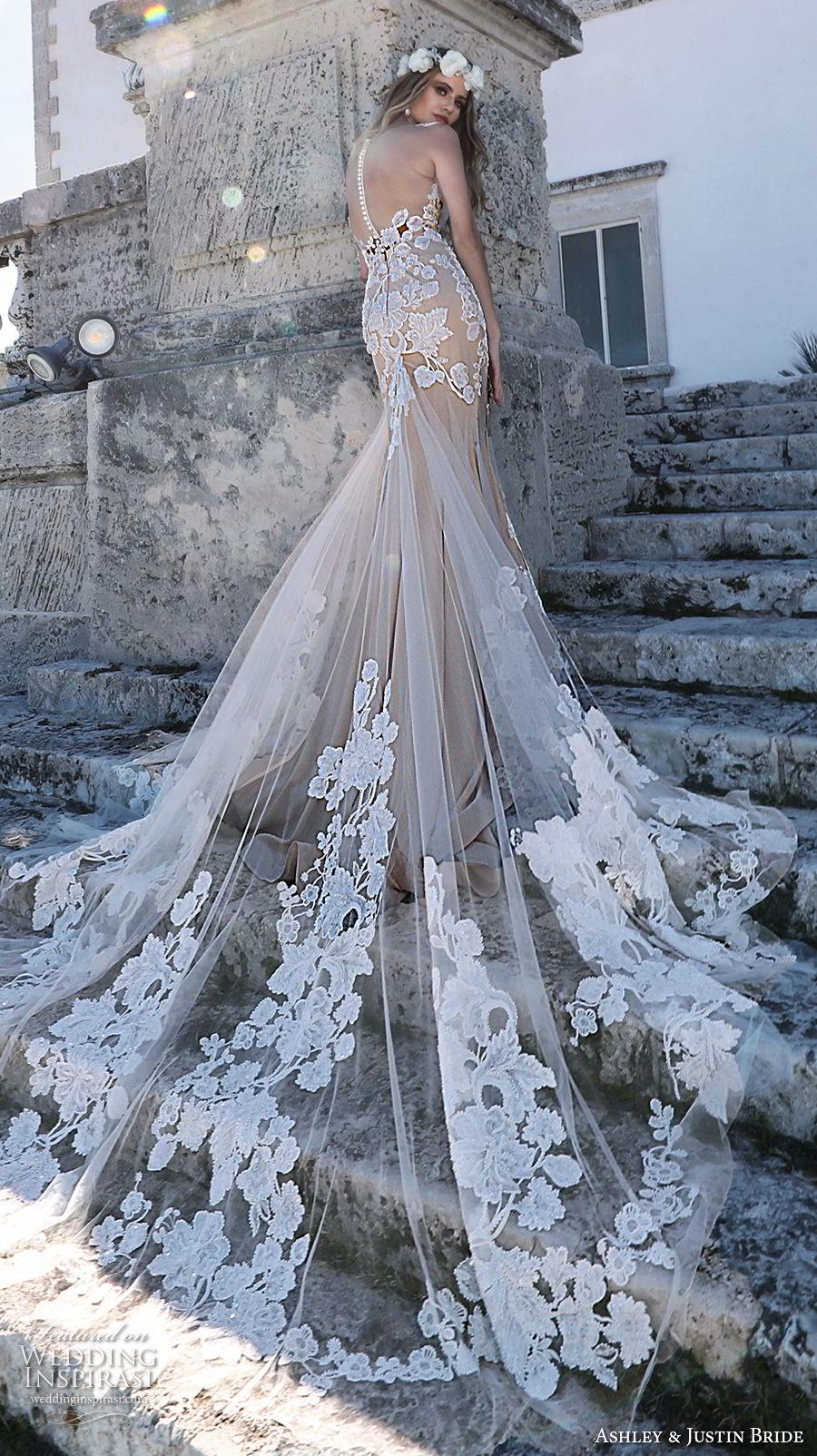 ashley justin spring 2018 bridal sleeveless v neck full embellishment elegant blush nude color fit and flare wedding dress sheer button back royal train (1) bv