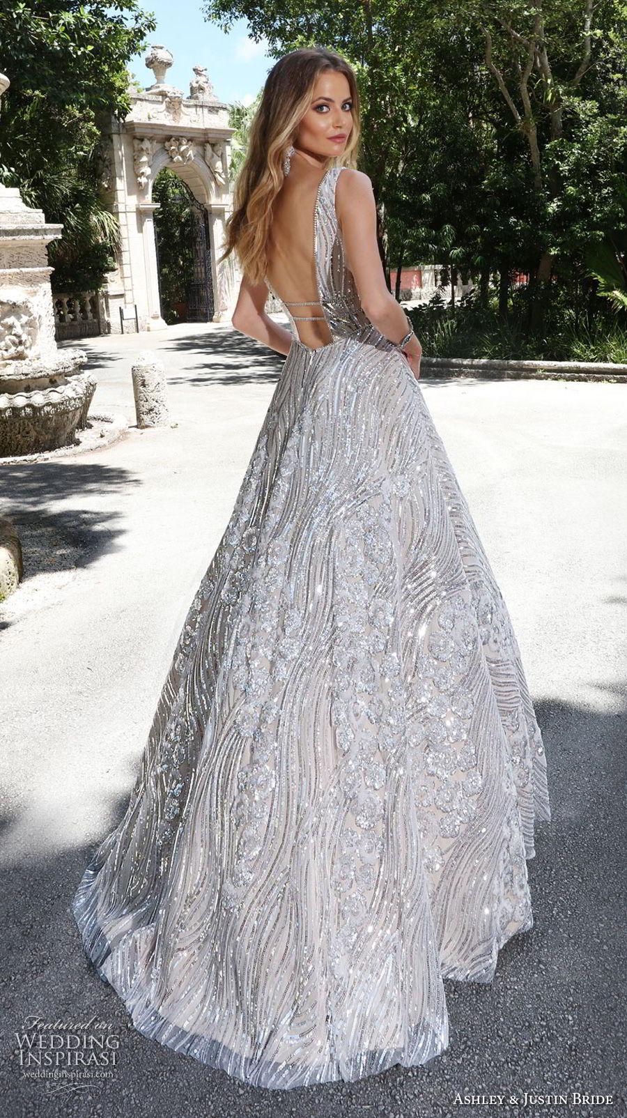 ashley justin spring 2018 bridal sleeveless with strap deep v neck full embellishment metallic glamorous a  line wedding dress open v back sweep train (16) bv