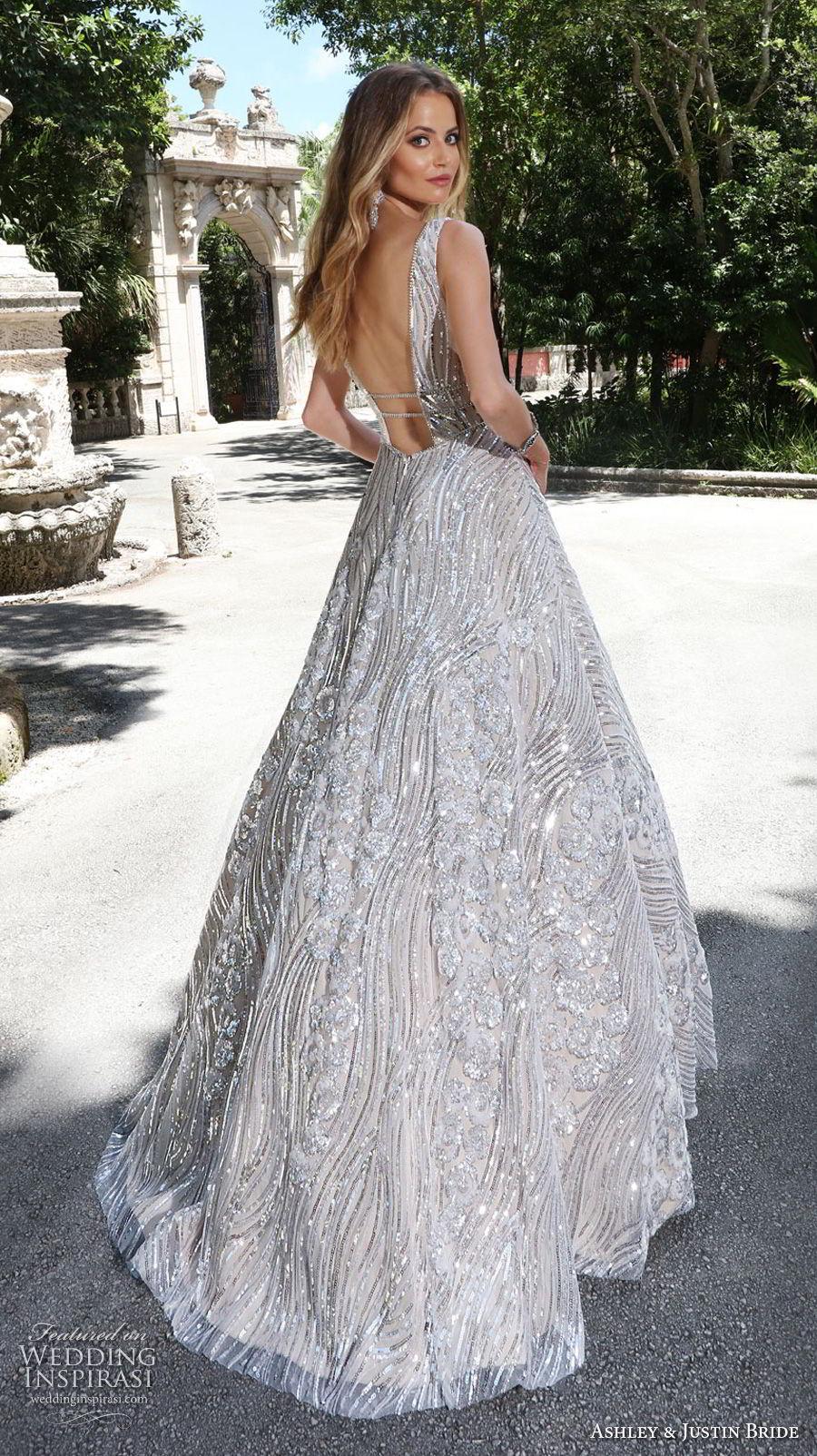ashley justin spring 2018 bridal sleeveless with strap deep v neck full embellishment metallic glamorous a line wedding dress open v back sweep train (16) bv