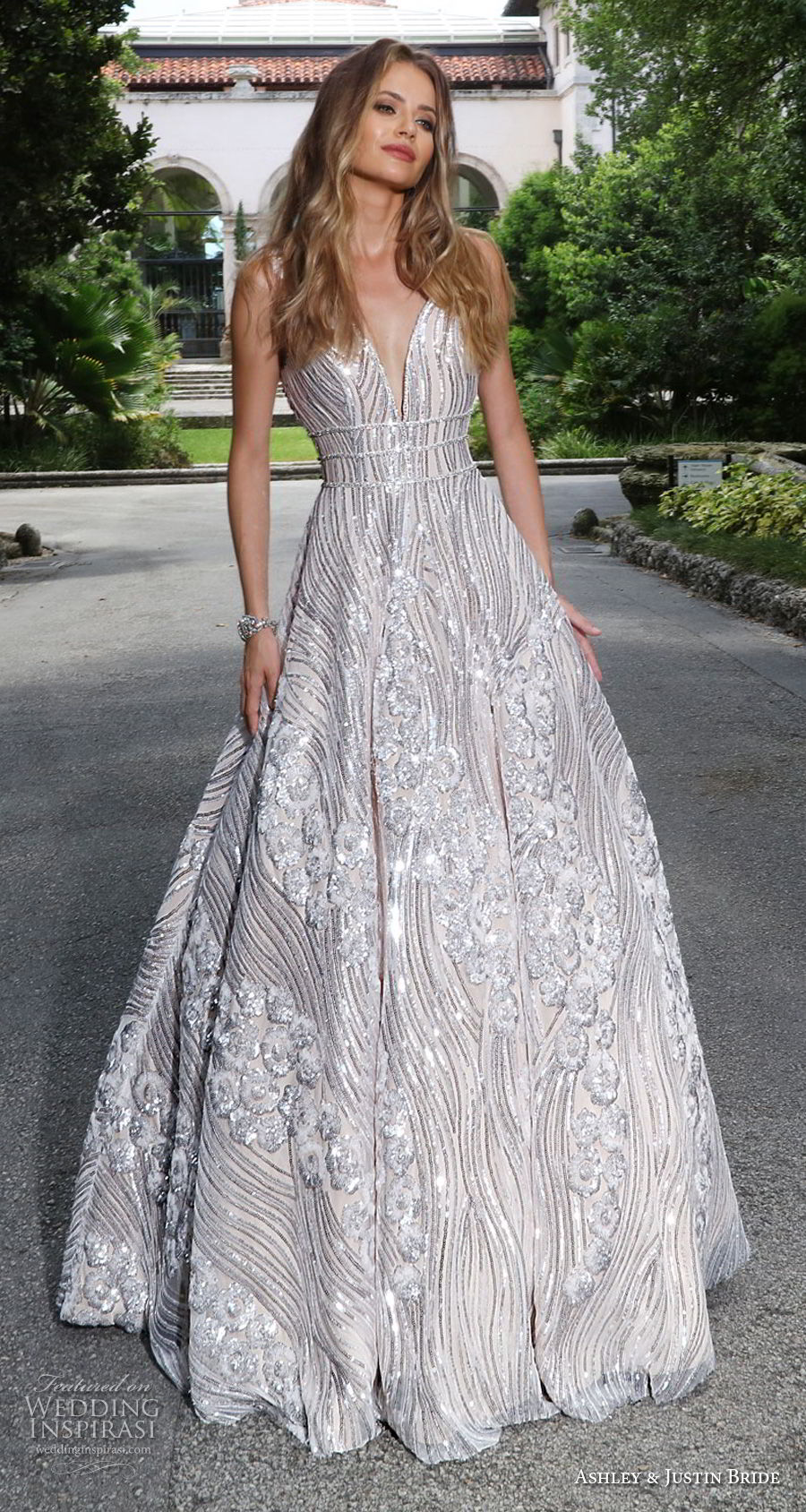 ashley justin spring 2018 bridal sleeveless with strap deep v neck full embellishment metallic glamorous a  line wedding dress open v back sweep train (16) mv