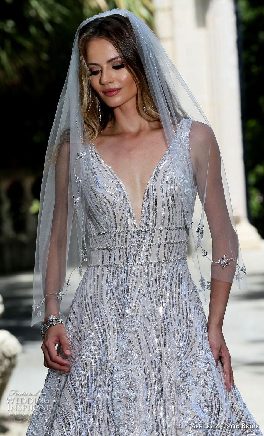 ashley justin spring 2018 bridal sleeveless with strap deep v neck full embellishment metallic glamorous a  line wedding dress open v back sweep train (16) zv
