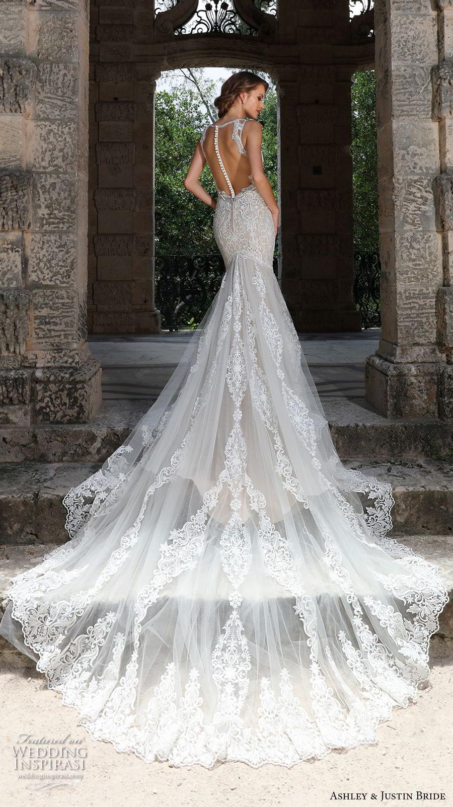 ashley justin spring 2018 bridal sleeveless with strap sweetheart neckline full embellishment elegant ivory color mermaid wedding dress sheer button back royal train (7) bv