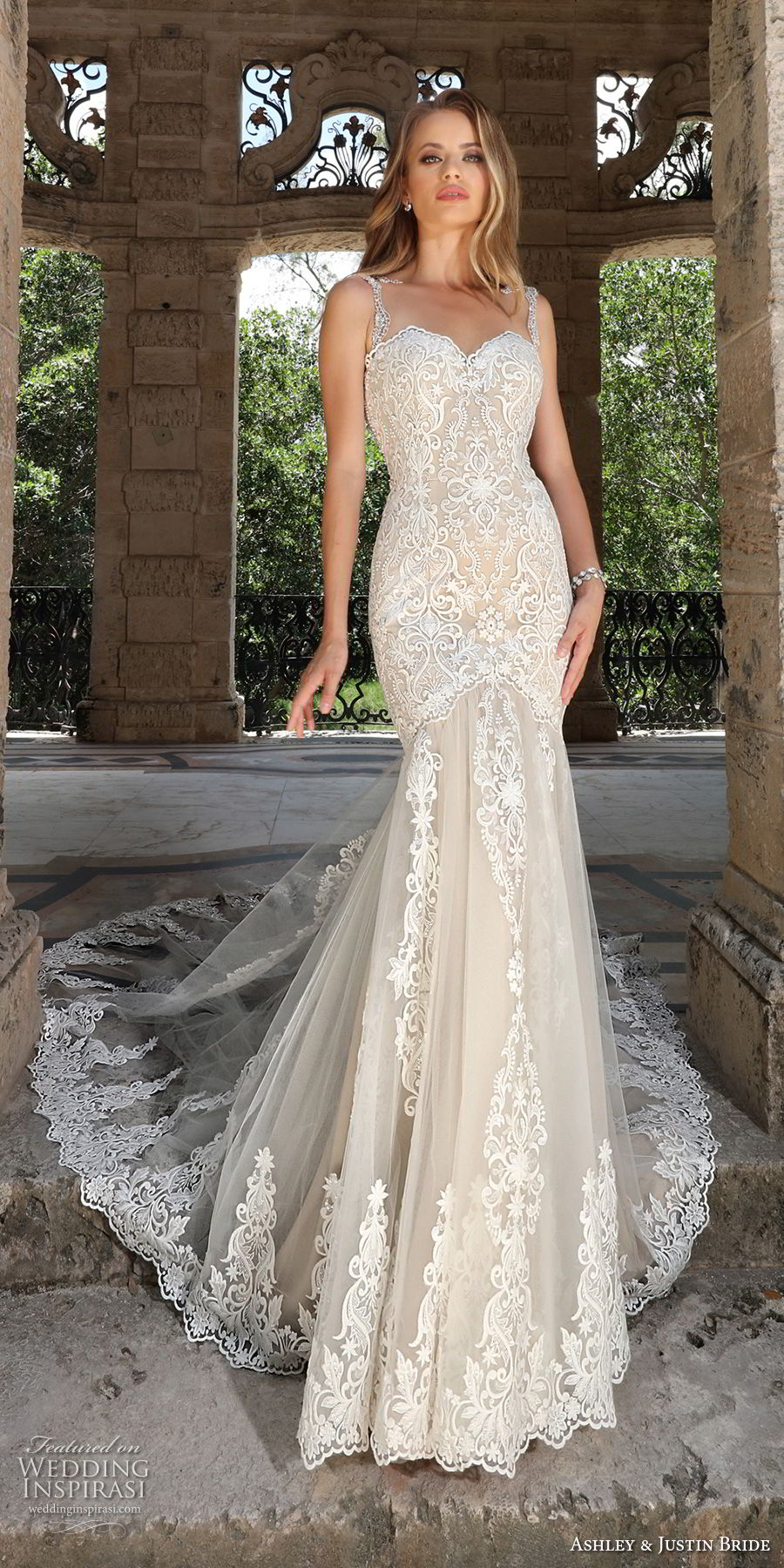 ashley justin spring 2018 bridal sleeveless with strap sweetheart neckline full embellishment elegant ivory color mermaid wedding dress sheer button back royal train (7) mv