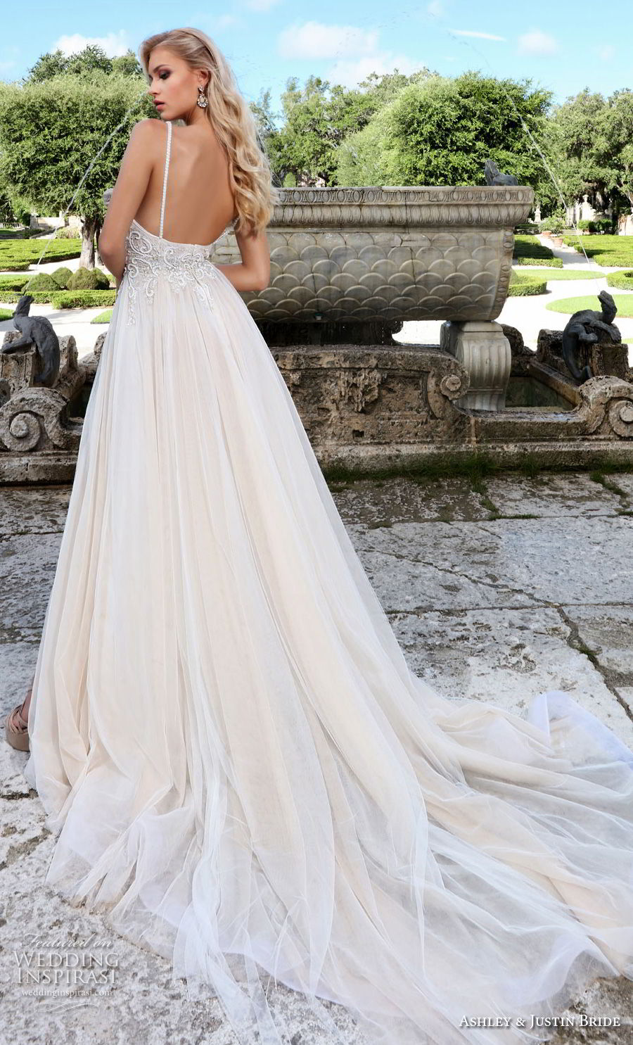 ashley justin spring 2018 bridal spaghetti strap sweetheart neckline heavily embellished bodice high slit skirt soft a  line wedding dress open back chapel train (11) bv