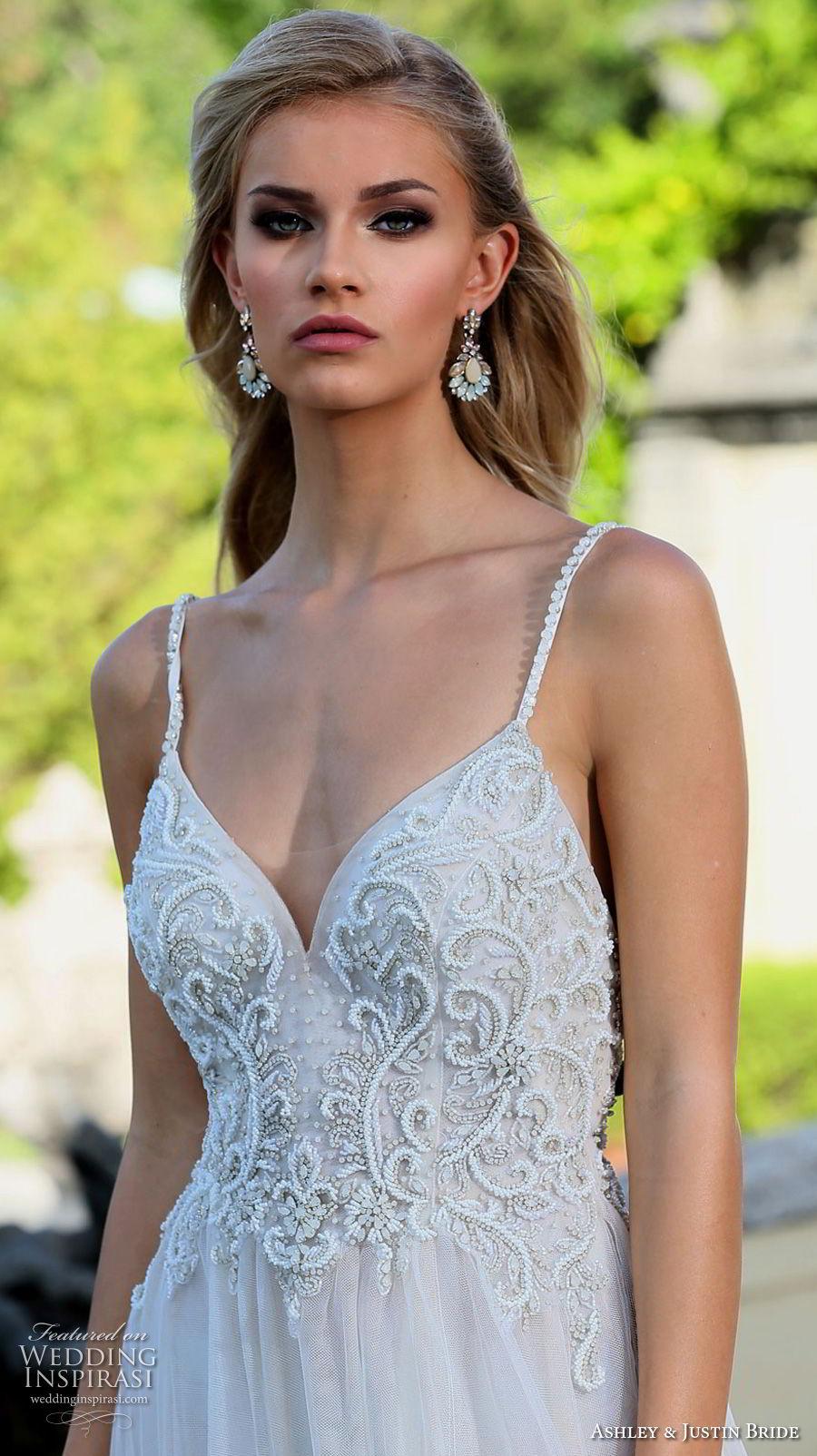 ashley justin spring 2018 bridal spaghetti strap sweetheart neckline heavily embellished bodice high slit skirt soft a  line wedding dress open back chapel train (11) zv