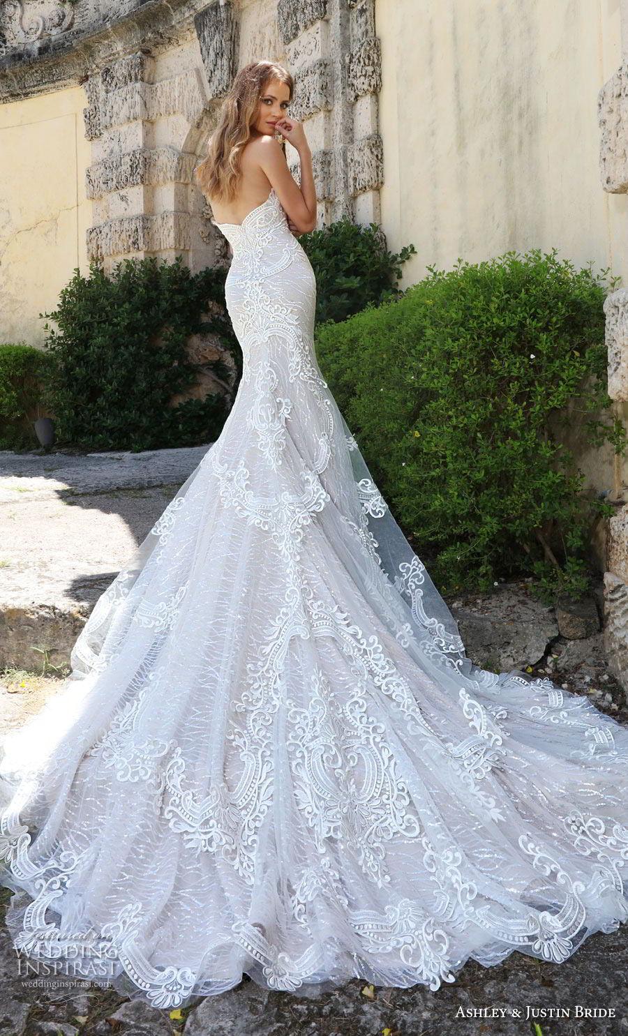 ashley justin spring 2018 bridal strapless deep plunging sweetheart neckline full embellishment elegant glamorous fit and flare wedding dress long train (8) bv