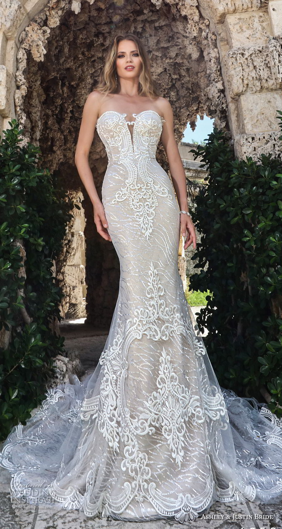 ashley justin spring 2018 bridal strapless deep plunging sweetheart neckline full embellishment elegant glamorous fit and flare wedding dress long train (8) mv