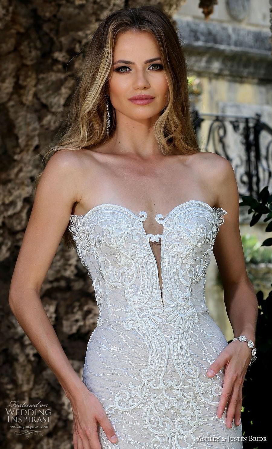 ashley justin spring 2018 bridal strapless deep plunging sweetheart neckline full embellishment elegant glamorous fit and flare wedding dress long train (8) zv