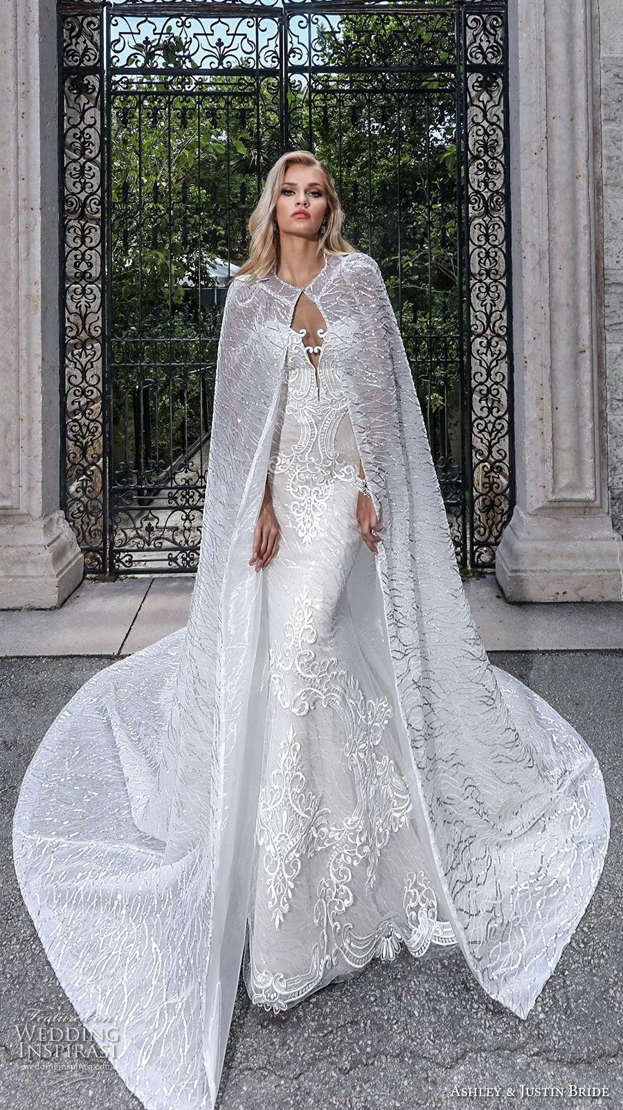 ashley justin spring 2018 bridal strapless deep plunging sweetheart neckline full embellishment elegant glamorous fit and flare wedding dress with cape long train (8) mv