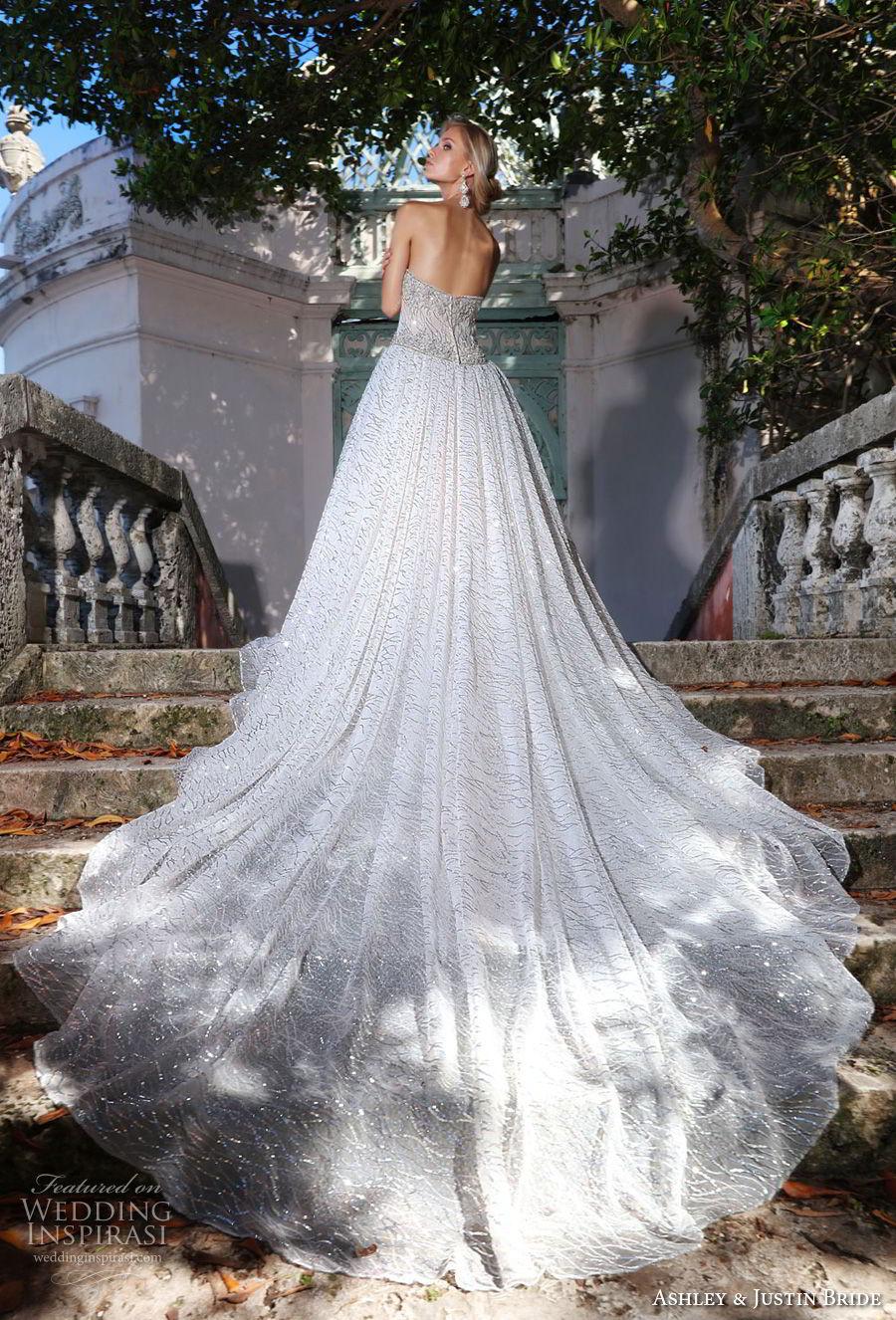 ashley justin spring 2018 bridal strapless semi sweetheart neckline full embellishment elegant glamorous a  line wedding dress royal train (18) bv