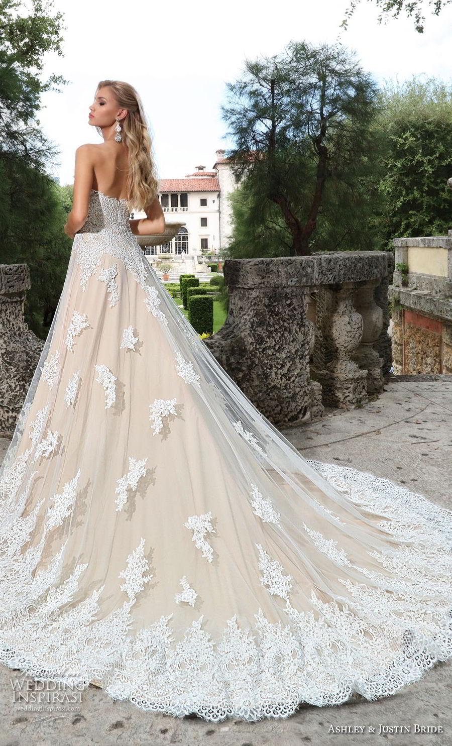 ashley justin spring 2018 bridal strapless semi sweetheart neckline heavily embellished bodice romantic ivory a  line wedding dress chapel train (12) bv