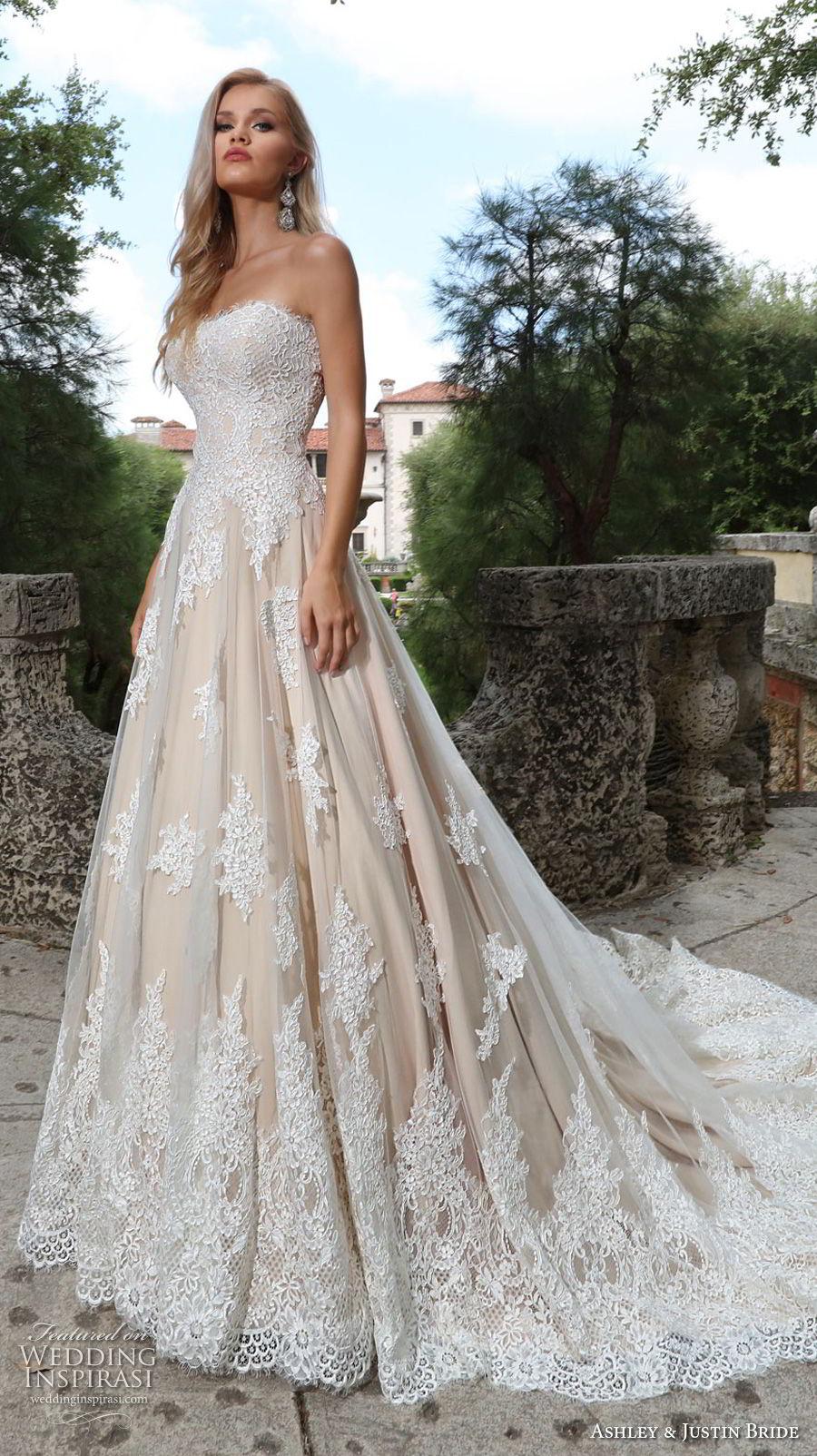 ashley justin spring 2018 bridal strapless semi sweetheart neckline heavily embellished bodice romantic ivory a  line wedding dress chapel train (12) mv