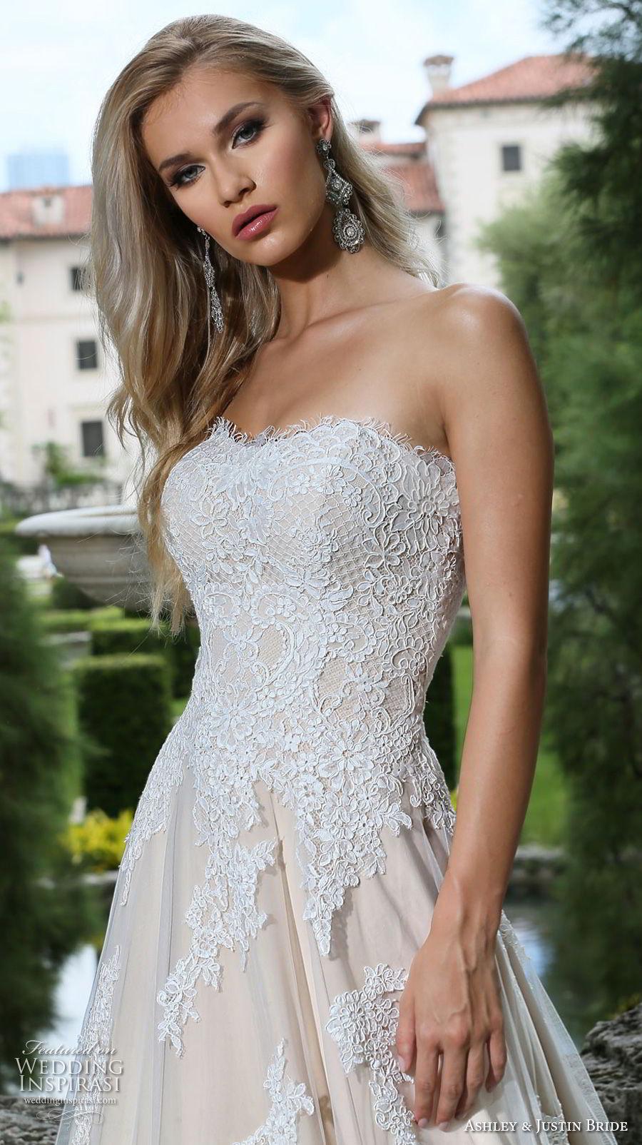 ashley justin spring 2018 bridal strapless semi sweetheart neckline heavily embellished bodice romantic ivory a  line wedding dress chapel train (12) zv