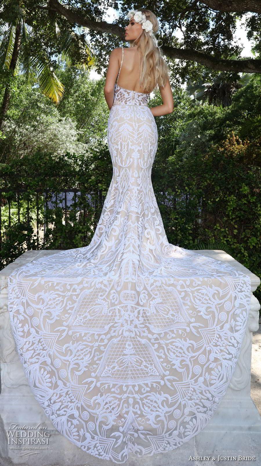 ashley justin spring 2018 bridal strapless sweetheart neckline full embellishment elegant fit and flare wedding dress chapel train (17) bv