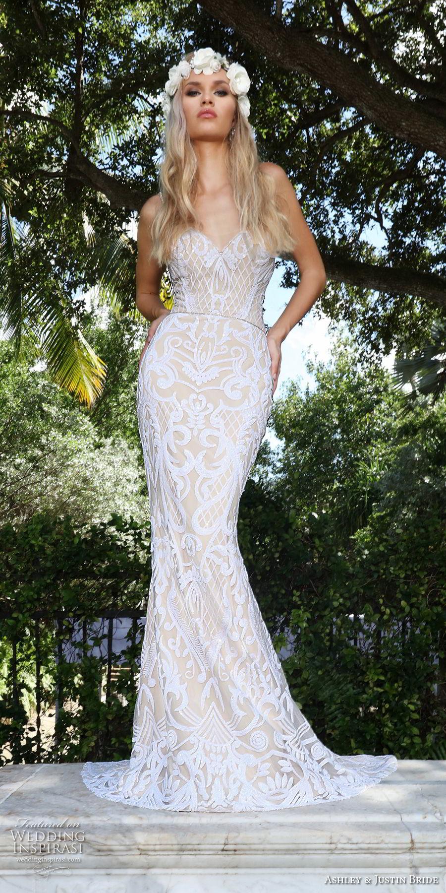 ashley justin spring 2018 bridal strapless sweetheart neckline full embellishment elegant fit and flare wedding dress chapel train (17) mv