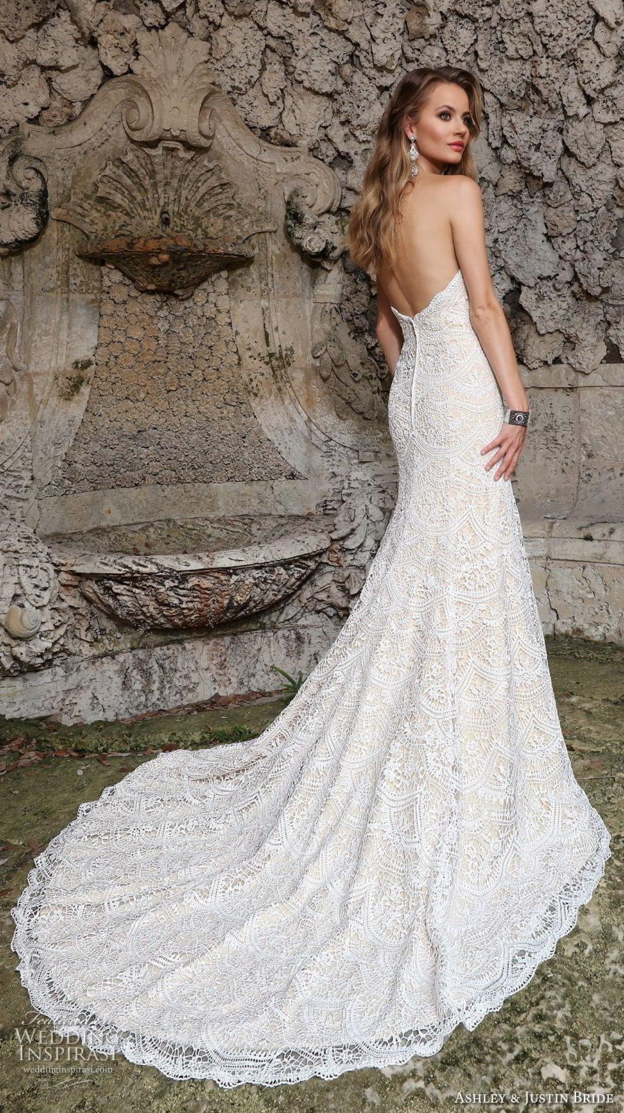 ashley justin spring 2018 bridal strapless sweetheart neckline full embellishment elegant fit and flare wedding dress chapel train (5) bv