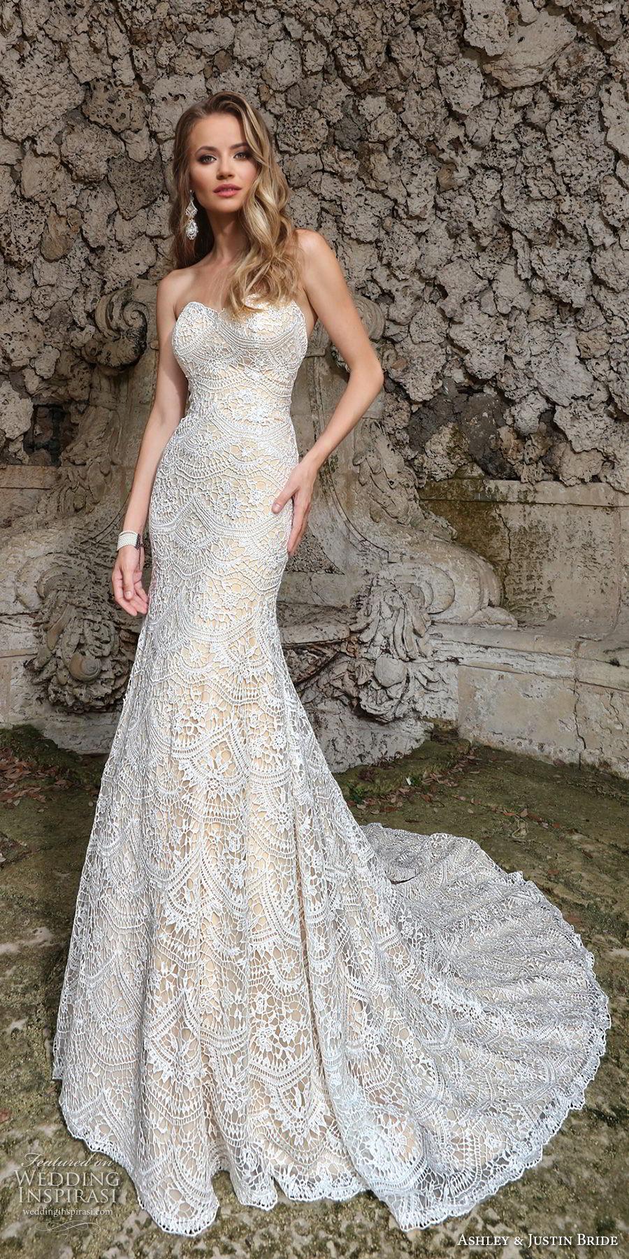ashley justin spring 2018 bridal strapless sweetheart neckline full embellishment elegant fit and flare wedding dress chapel train (5) mv