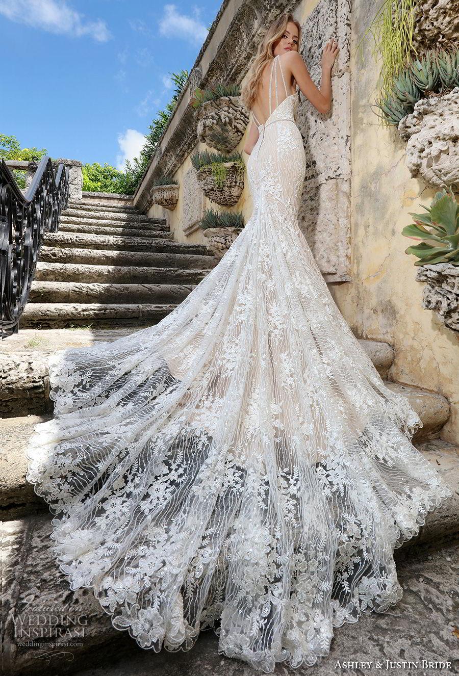 ashley justin spring 2018 bridal strapless sweetheart neckline full embellishment elegant ivory color mermaid wedding dress open back royal train (3) bv