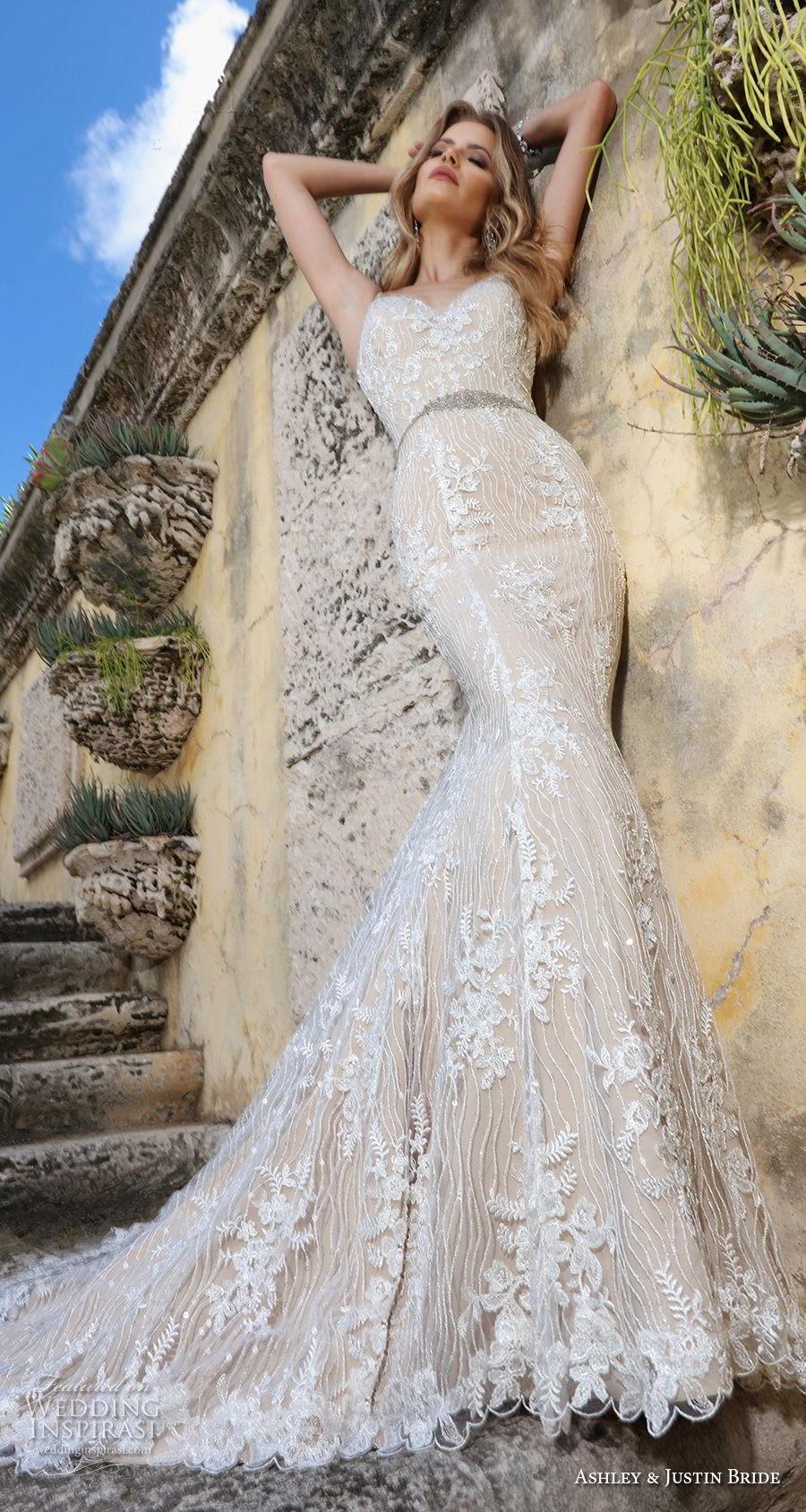 ashley justin spring 2018 bridal strapless sweetheart neckline full embellishment elegant ivory color mermaid wedding dress open back royal train (3) mv