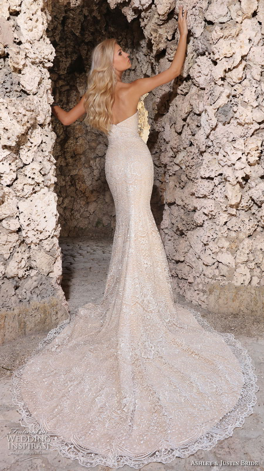 ashley justin spring 2018 bridal strapless sweetheart neckline full embellishment elegant ivory mermaid wedding dress chapel train (13) bv