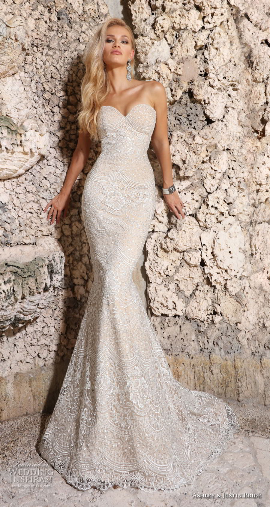 ashley justin spring 2018 bridal strapless sweetheart neckline full embellishment elegant ivory mermaid wedding dress chapel train (13) mv