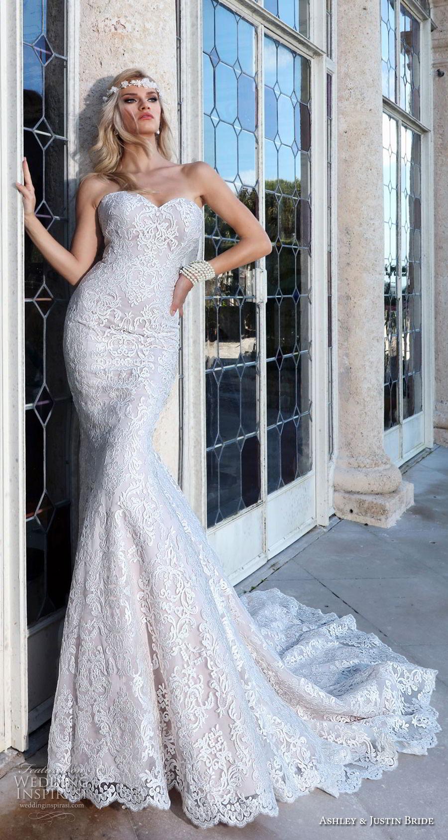 ashley justin spring 2018 bridal strapless sweetheart neckline full embellishment elegant romantic fit and flare wedding dress open back chapel train (10) mv