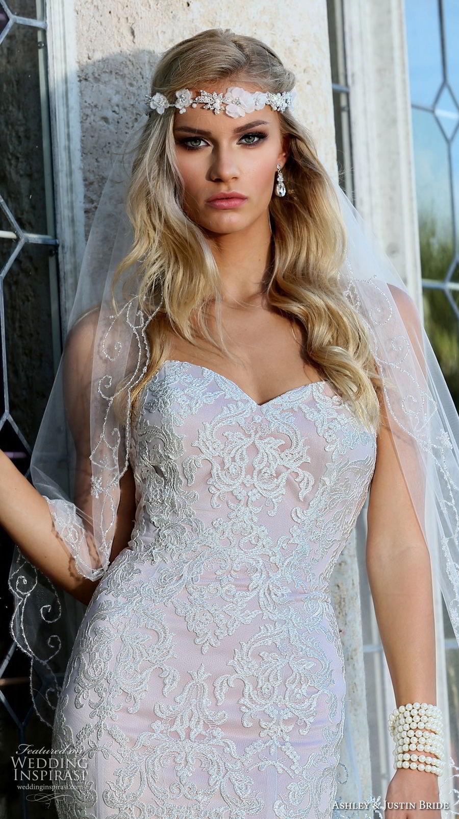 ashley justin spring 2018 bridal strapless sweetheart neckline full embellishment elegant romantic fit and flare wedding dress open back chapel train (10) zv