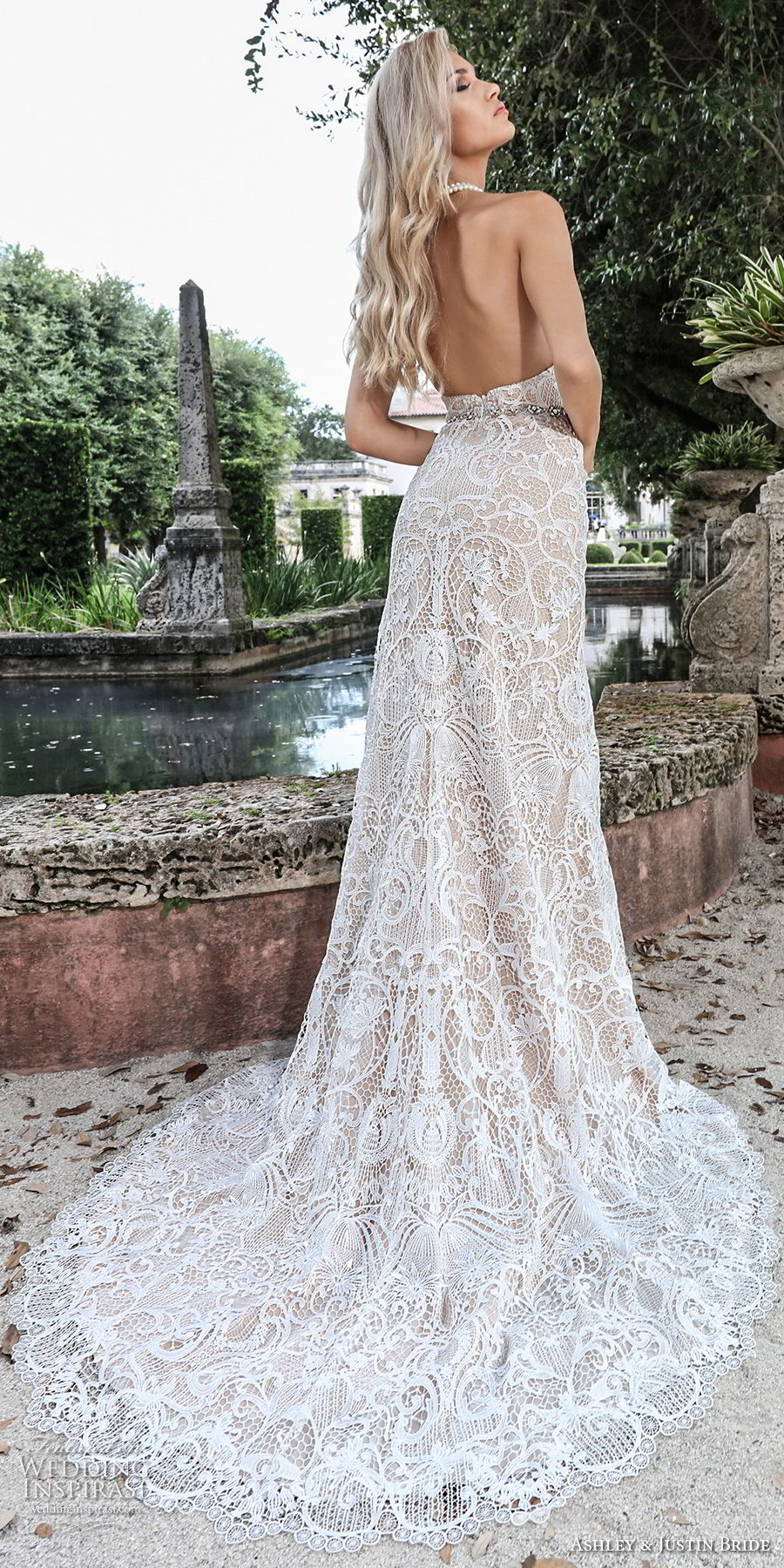 ashley justin spring 2018 bridal strapless sweetheart neckline full embellishment elegant sheath wedding dress open back medium train (15) bv