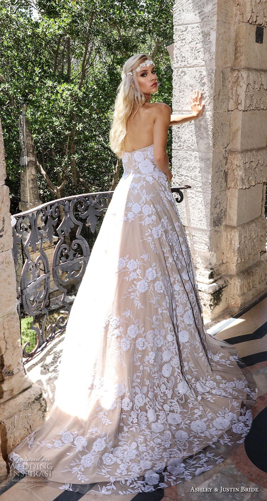 ashley justin spring 2018 bridal strapless sweetheart neckline full embellishment romantic ivory color a  line wedding dress short train (9) bv