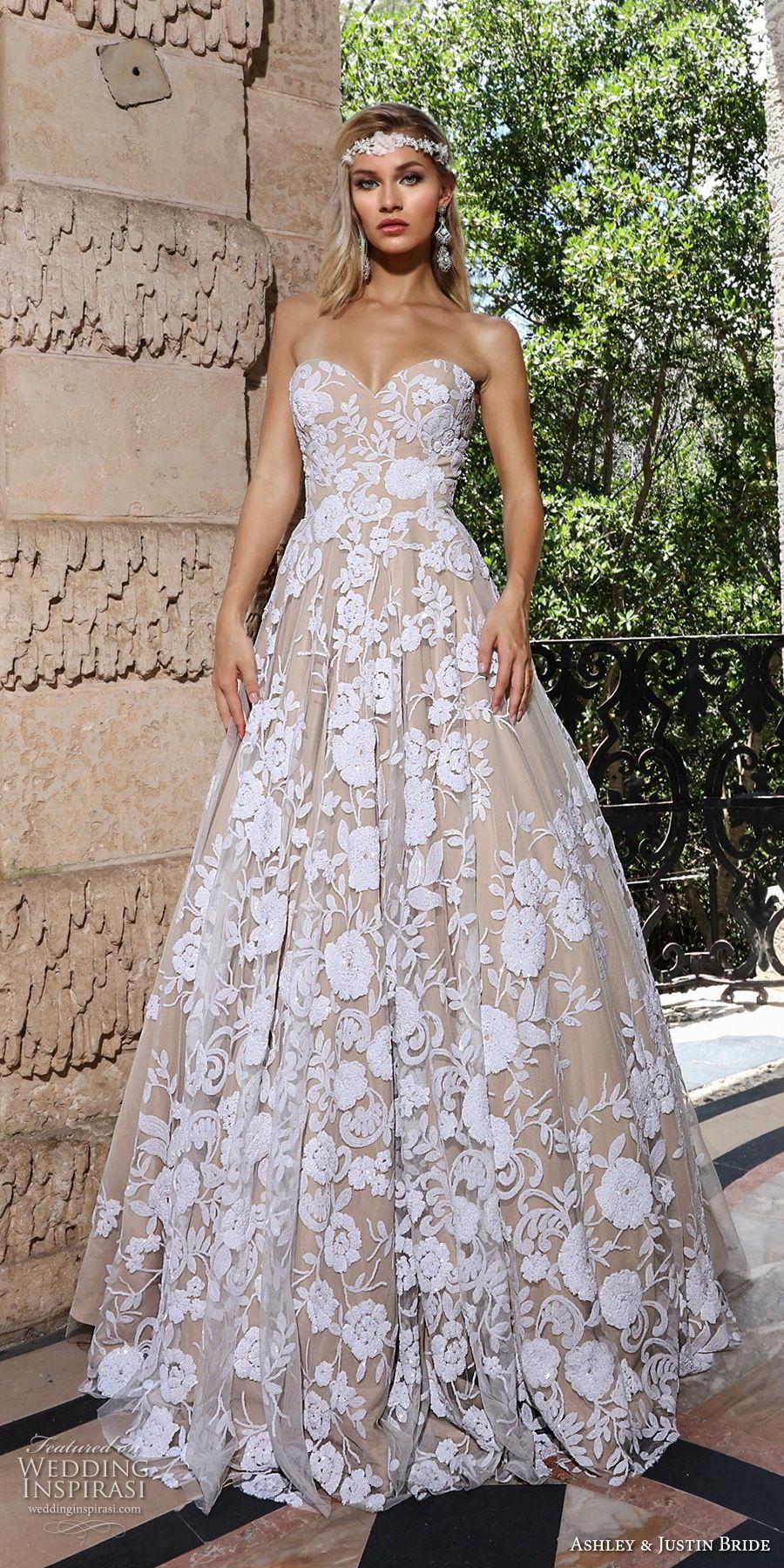 ashley justin spring 2018 bridal strapless sweetheart neckline full embellishment romantic ivory color a  line wedding dress short train (9) mv