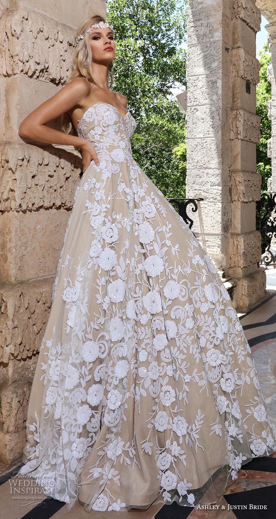 ashley justin spring 2018 bridal strapless sweetheart neckline full embellishment romantic ivory color a  line wedding dress short train (9) sdv