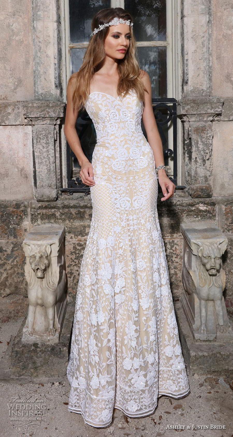 ashley justin spring 2018 bridal strapless sweetheart neckline full embellishment romantic ivory color sheath wedding dress short train (19) mv