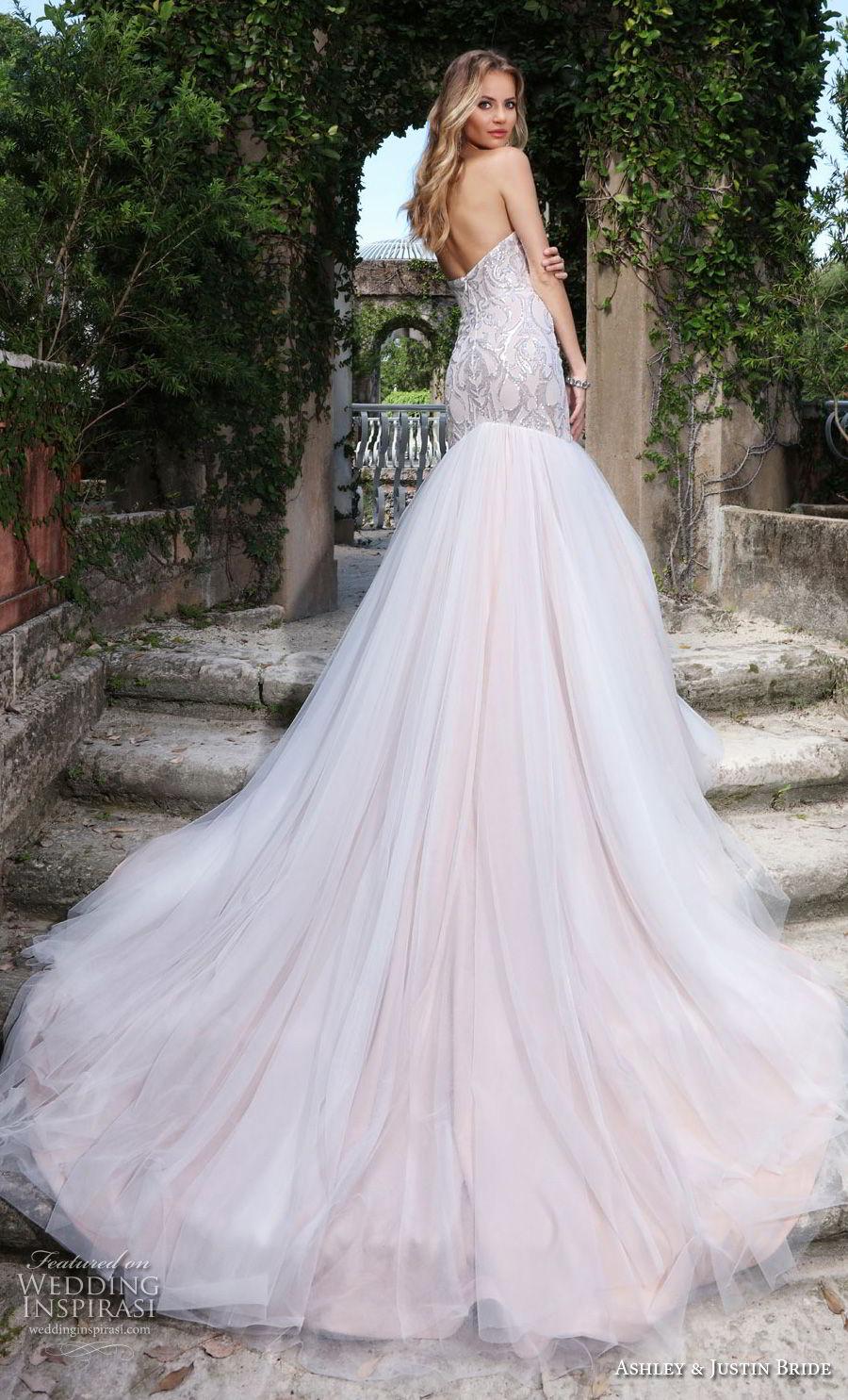 ashley justin spring 2018 bridal strapless sweetheart neckline heavily embellished bodice elegant mermaid wedding dress chapel train (21) bv