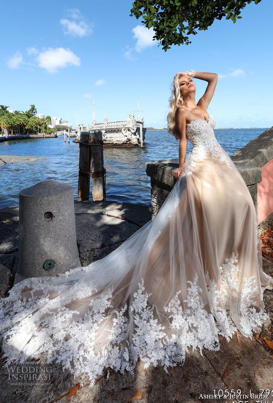 ashley justin spring 2018 bridal strapless sweetheart neckline heavily embellished bodice romantic nude color a  line wedding dress royal train (2) mv