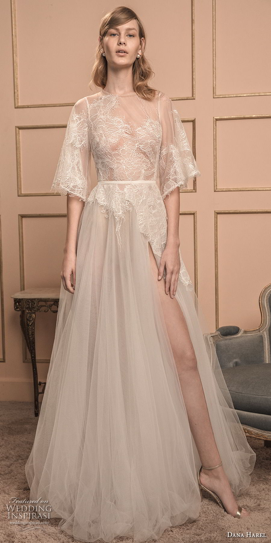 dana harel 2018 bridal half bell sleeves illusion jewel neck heavily embellished bodice high slit skirt romantic a  line wedding dress v back sweep train (4) mv