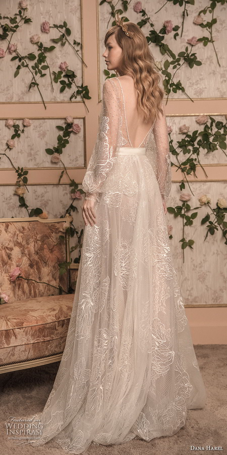 dana harel 2018 bridal long bishop sleeves deep v neck full embellishment romantic bohemian a line wedding open back sweep train (7) bv