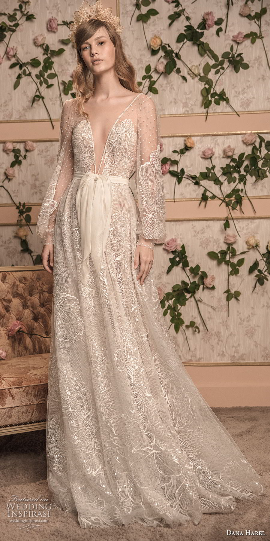 dana harel 2018 bridal long bishop sleeves deep v neck full embellishment romantic bohemian a  line wedding open back sweep train (7) mv