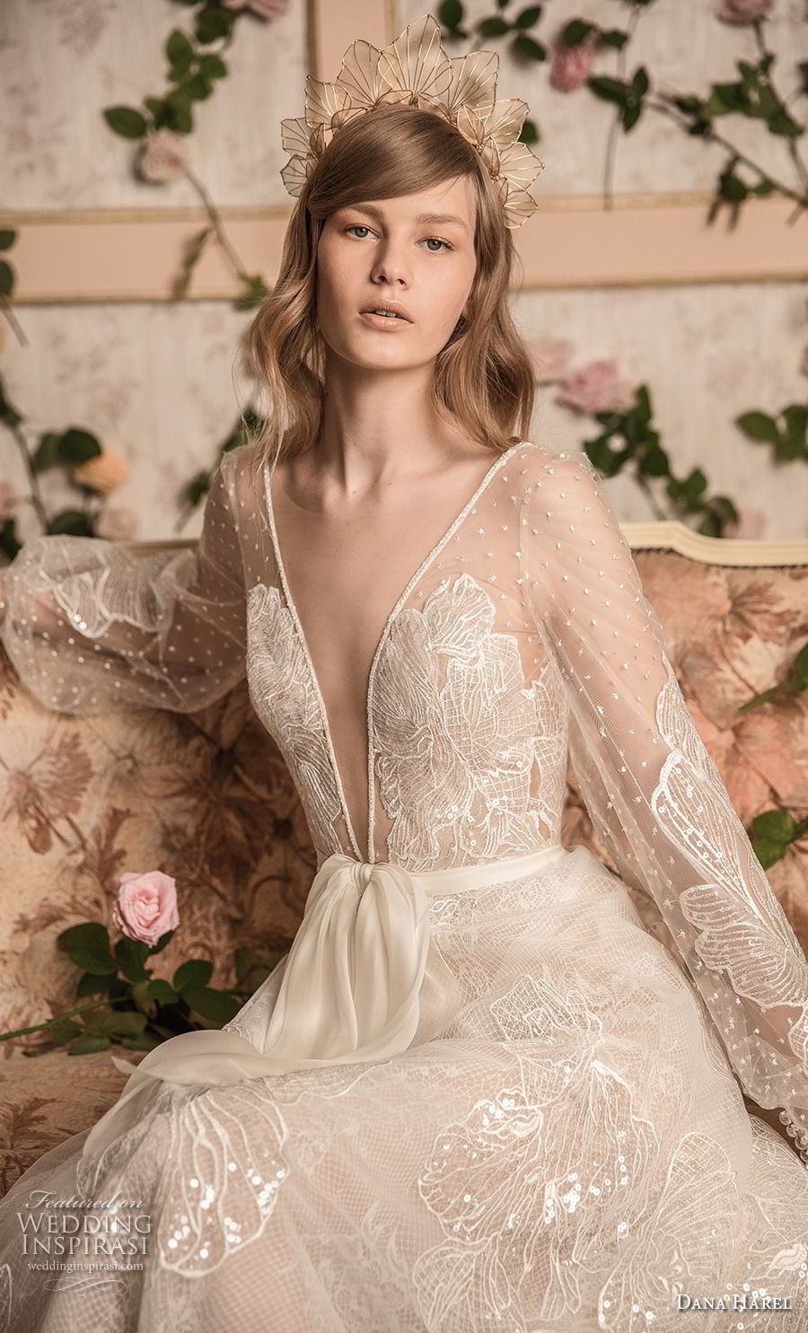 dana harel 2018 bridal long bishop sleeves deep v neck full embellishment romantic bohemian a line wedding open back sweep train (7) zv