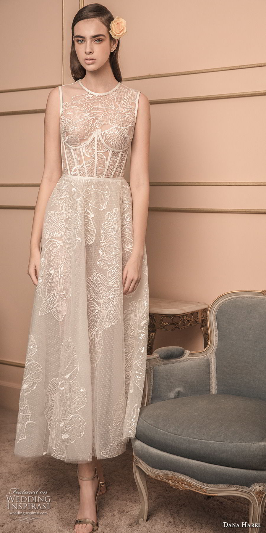 dana harel 2018 bridal sleeveless jewel neck heavily embellished bodice bustier romantic tea length short wedding dress sheer lace back (6) mv